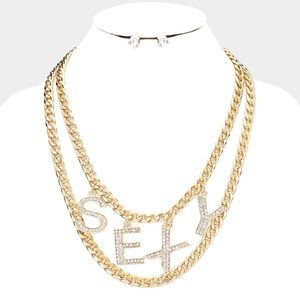 Sexy Rhinestone Pave Chain Layered Necklace